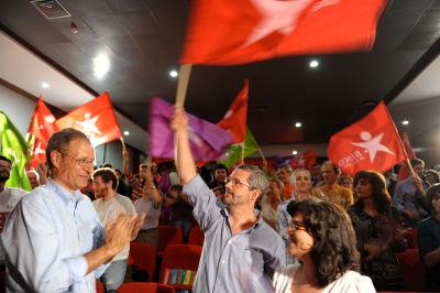 Louçã, Serafim Duarte e Catarina Martins no comício. Foto de Paulete Matos