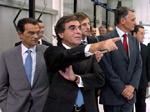 Dias Loureiro, Oliveira e Costa na visita do Presidente da República Cavaco Silva à fábrica Inapal em Setúbal (21/07/2006) – Foto da Lusa