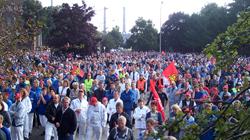 Manifestação de trabalhadores da VW ns instalações da empresa