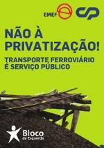 Não à privatização da CP - Cartaz do Bloco de Esquerda