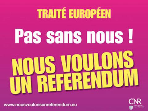Cartaz:Tratado Europeu Não sem nós Queremos um Referendo