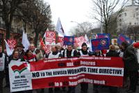 Manifestação europeia contra a nova directiva do tempo de trabalho