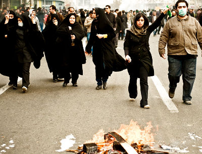 Protestos em Teerão dia 27 de Dezembro. Foto de http://www.kosoof.com