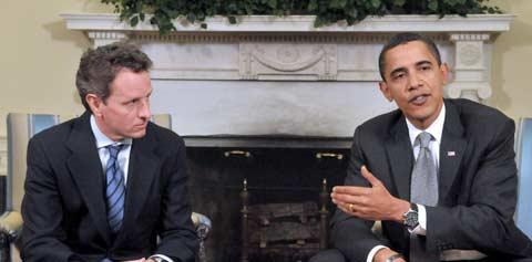 Obama encarregou o secretário do Tesouro Timothy Geithner de levar a mensagem aos altos quadros da finança. Foto EPA