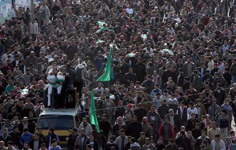 Funeral do dirigente do Hamas Nizar Rayan e da sua família - Foto Lusa/EPA