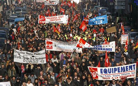 Manifestação em Paris - 29 de Janeiro de 2009 - Foto da Lusa