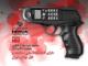 Imagem de um telemóvel Nokia incrustado num revolver, cartaz de denúncia da colaboração da Nokia com a repressão no Irão