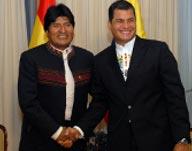 Evo Morales, presidente da Bolívia, e Rafael Correa, presidente do Equador