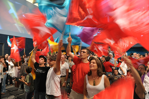 Apoiantes comemoram a maior votação de sempre do Bloco (foto Paulete Matos)