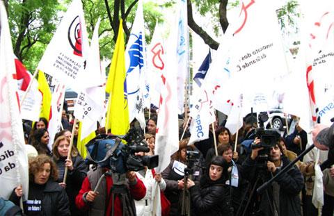 Os professores iniciaram uma vigília em frente ao Ministério da Educação, que dura até sexta à noite. Foto do site da Fenprof