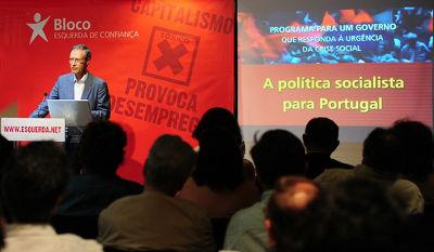 Francisco Louçã apresenta o  programa no hotel Sofitel, em Lisboa. Foto de Paulete Matos