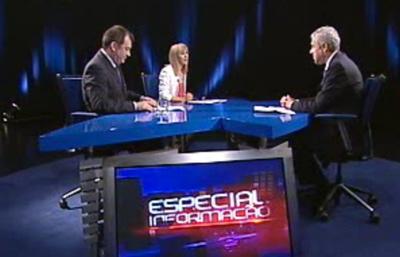 José Sócrates entrevistado por Jdite de Sousa e José Alberto Carvalho na RTP