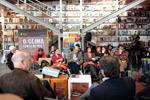 Clique para ampliar. Maria José Roxo, Filipe Duarte Santos e Rita Calvário.  Foto Paulete Matos