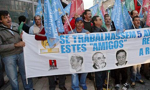Protesto dos trabalhadores do sector da construção. Foto de arquivo de João Miranda/Lusa