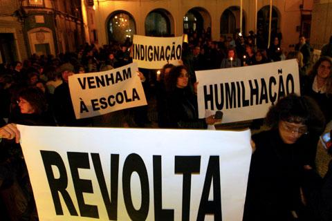 Manifestação de professores em Torres Vedras (Março de 2008) - Foto da Lusa