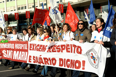 Manifestação de enfermeiros em 29 de Janeiro. Foto de Paulete Matos