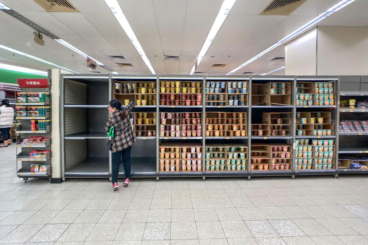 supermercado em Wuhan, 6 fevereiro 2020