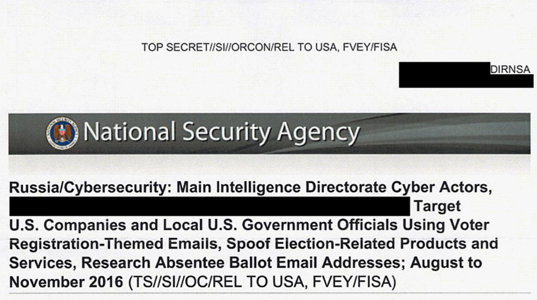 Tradução: Agência Nacional de Segurança – Rússia/Cibersegurança: Agentes da Diretoria-Geral de Segurança do Estado-Maior [redigido] atacaram empresas e servidores municipais norte-americanos através: de e-mails fraudulentos que levavam o destinatário a in