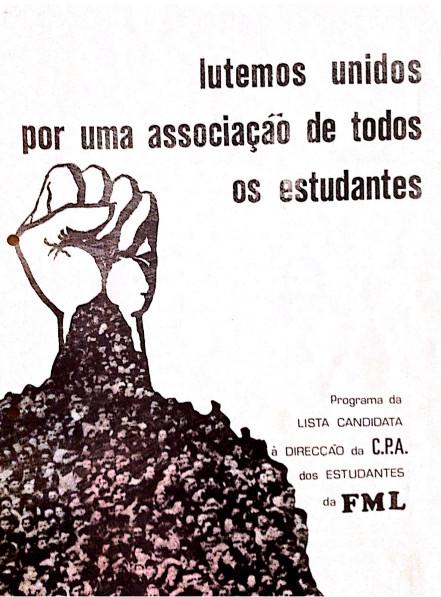 Capa da lista onde concorria Sita Valles à direção da Associação de Estudantes de Medicina, ano 72/73