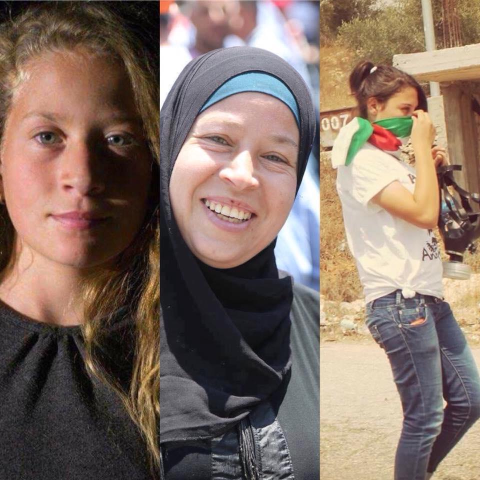 Ahed, Nariman e Nour Tamimi - as três estão presas em Israel