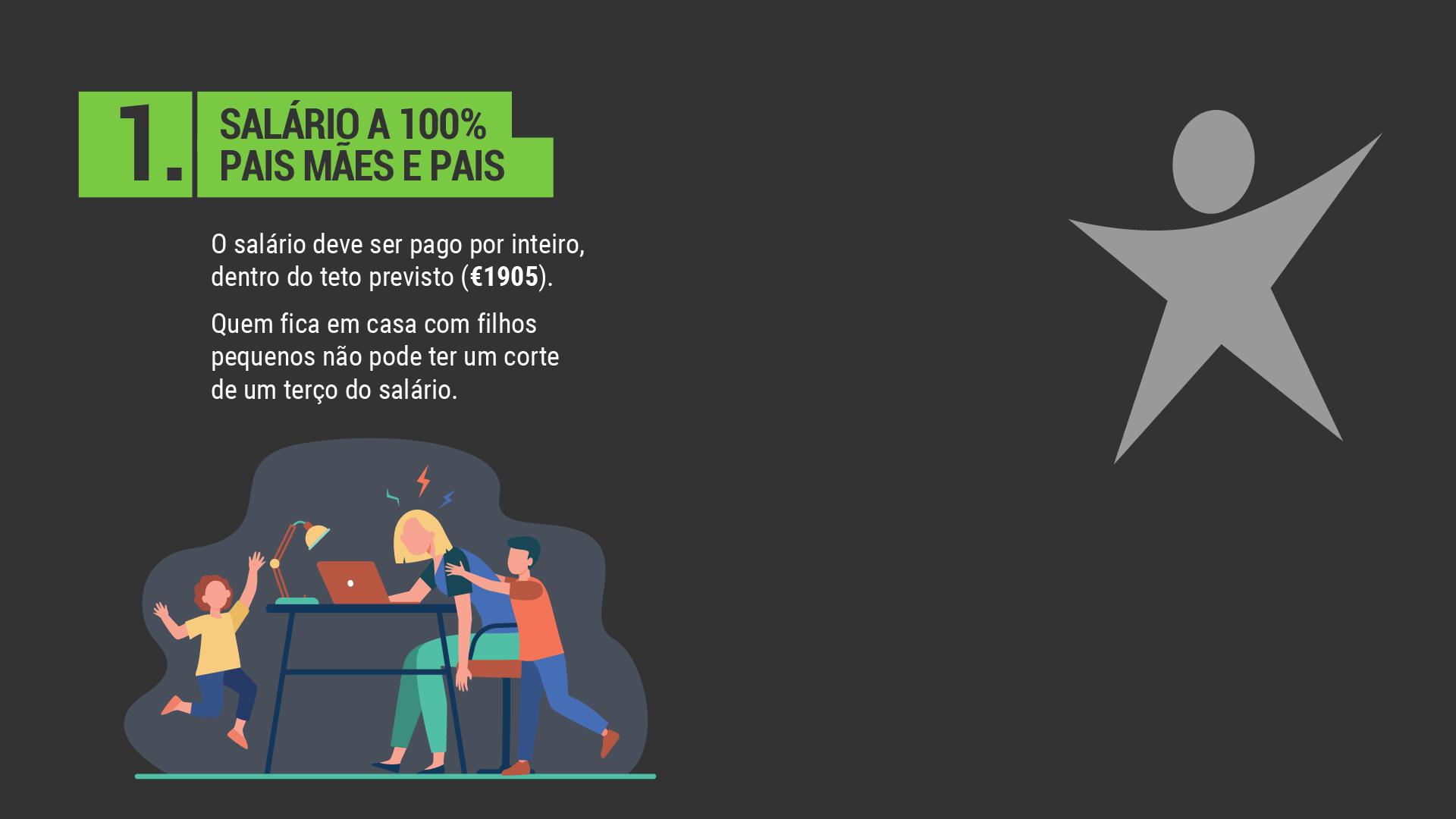 O salário deve ser pago por inteiro, dentro do teto previsto (€1905). Quem fica em casa com filhos pequenos não pode ter um corte de um terço do salário.