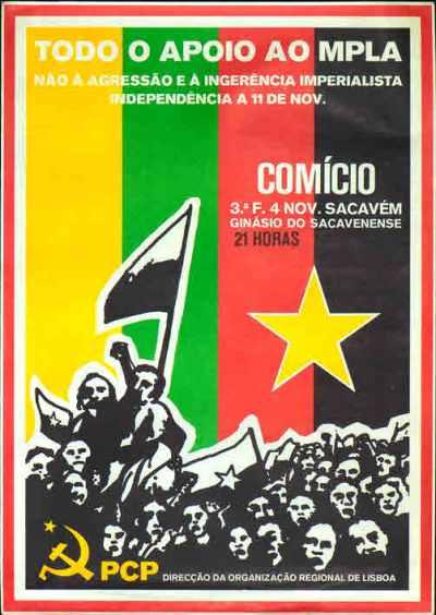 Cartaz do PCP em apoio ao MPLA