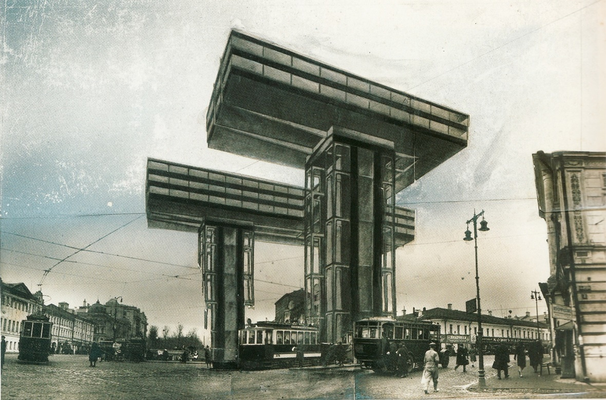 Fotomontagem para a proposta do conceito de arranha-céus horizontais (Wolkenbügel) - El Lissitzky, 1925