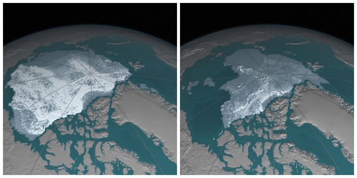 Extensão de gelo nos meses de setembro de 1984 e de 2016