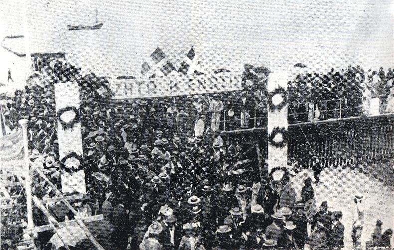 Manifestação cipriota em 1930 em favor da Enosis – Foto wikimedia