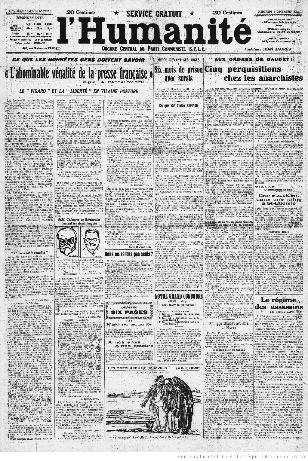 L'Humanité de 5 de Dezembro de 1923