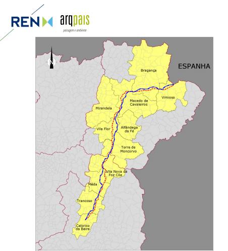 Gasoduto Celorico- Vale de Frades Interligação Transfronteiriça. Mapa do Estudo de Imptacte Ambiental