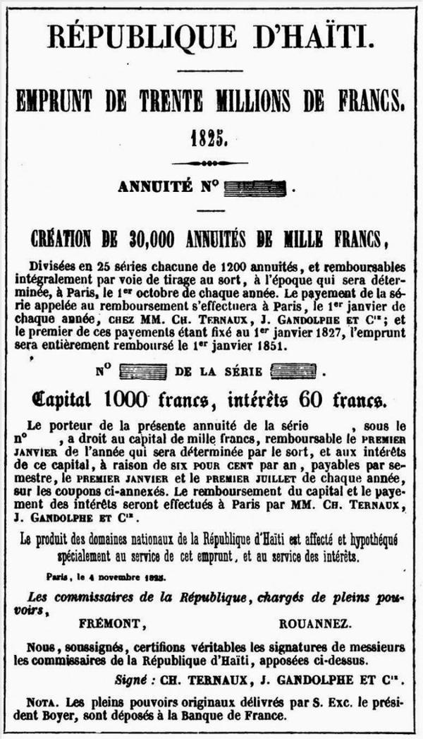 Haiti: Empréstimo de 30 milhões de francos, 1825