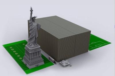 Visualização da dívida norte-americana em notas de 100 dólares.