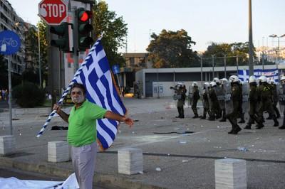 Os planos resgate acabaram por afundar a economia grega - Manifestação em Salónica, 10 de Setembro de 2011 - Foto de Stelios Matsagos