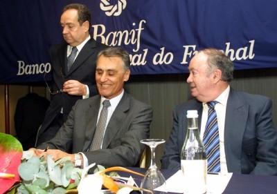 Horácio Roque, Cavaco Silva e Alberto João Jardim na conferência dos 15 anos do Banif em 2003.
