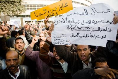 Egipto: Greve dos trabalhadores dos transportes públicos, protesto junto do Ministério do Interior
