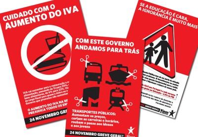 Três novos folhetos do Bloco de Esquerda para apelar à greve geral de dia 24.