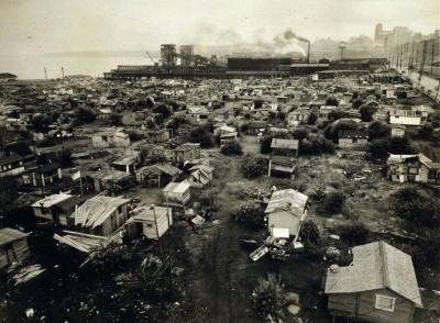 Uma hooverville em Seattle, Estados Unidos, anos 30
