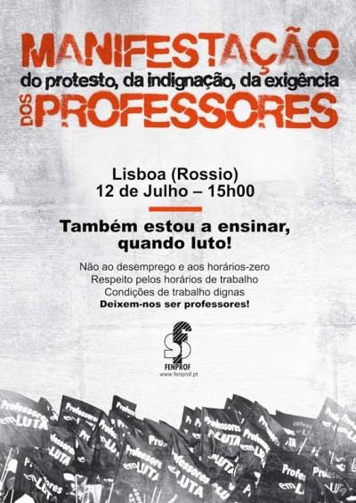 Dia 12 julho, às 15h no Rossio (Lisboa), há manifestação de professores convocada pela Fenprof