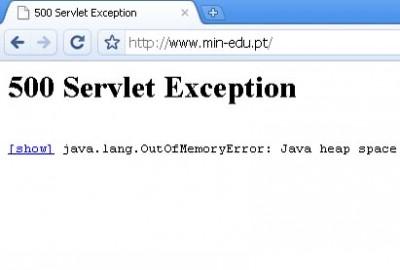Mensagem que aparece quando se tenta aceder ao site internet do ministério da Educação