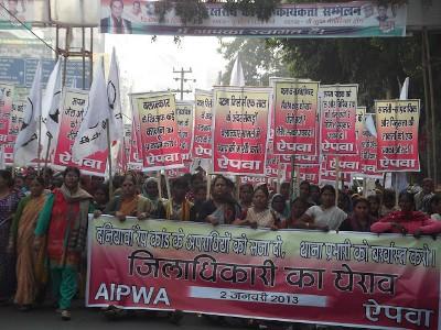 Campanha Justiça para Soni Sori, manifestação em Patna, 2 de janeiro de 2013 – foto retirada de aipwa-aipwa.blogspot.com