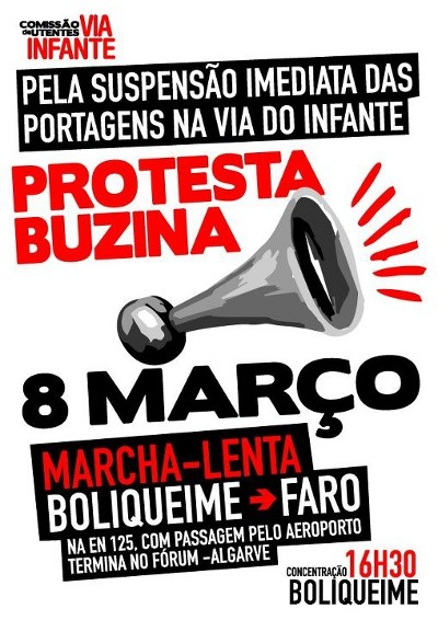 Cartaz retirado do perfil da Comissão de Utentes da Via do Infante no facebook