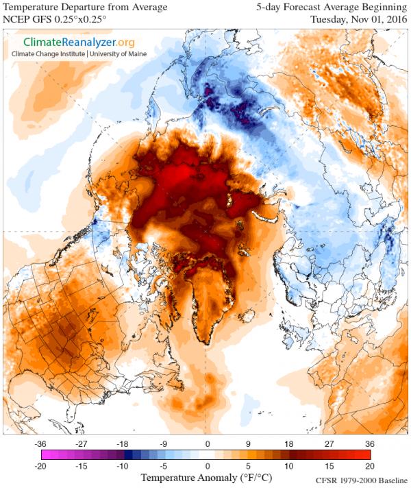 Variação da temperatura em relação à média para uma previsão de tempo a 5 dias a partir de 1 de novembro de 2016