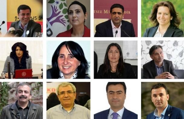 Alguns dos líderes do HDP e do DBP presos