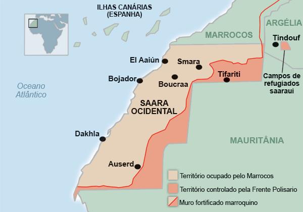mapa do Sahara Ocidental