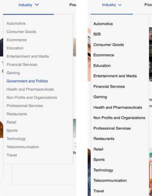 """Capturas de tela do Facebook de junho de 2017, à esquerda, e de março de 2018, à direita, mostram que a rede social removeu sua seção """"Governo e Política""""."""