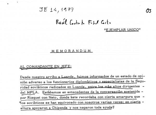 O memorando de Raúl Castro a Fidel: preocupação com a deterioração das relações entre dirigentes do MPLA e os soviéticos