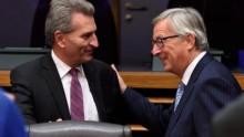 Günhter Oettinger com o presidente da Comissão Europeia, Jean-Claude Juncker