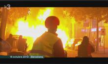 imagem dos protestos em Barcelona