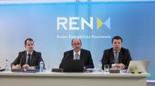 Os administradores executivos Gonçalo Morais Soares, Rodrigo Costa e João Conceição apresentaram as contas do ano passado. Foto REN